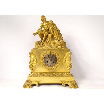 Pendule Bronze Doré Personnages Homme Enfant Napoléon III XIXème