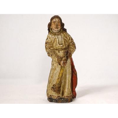 Saint XVIIIth Century Carved Polychrome Wood Statuette