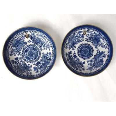 Paire Coupelles Porcelaine Chine Compagnie Indes Blason Fleurs XVIIIème