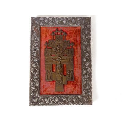 Croix Byzantine Crucifix Orthodoxe Russe Cuivre Christ Anges XVIIIè Siècle