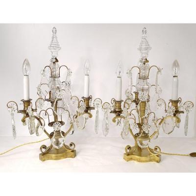 Paire Girandoles 3 Feux Bronze Pampilles Cristal Taillé Fleurs XIXè Siècle