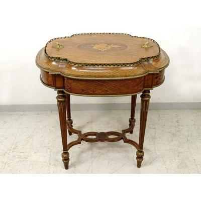 Table Jardinière Marqueterie Instruments Musique Bronze Napoléon III XIXème