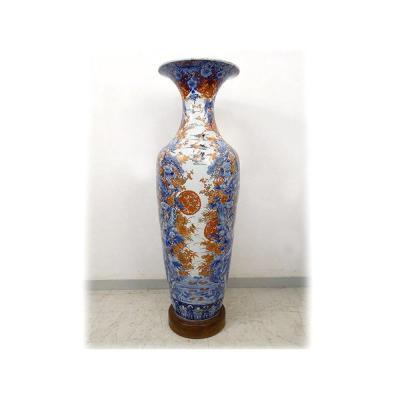 Large Porcelain Vase Imari Japan Landscapes Herons Pond Flowers 127cm Nineteenth