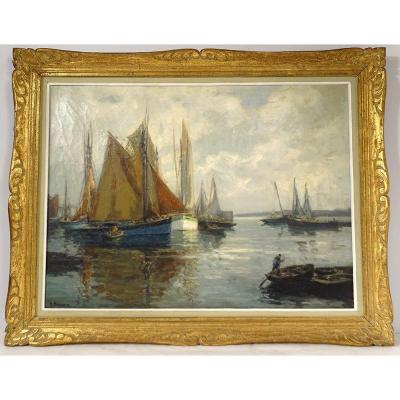 Great Hst Marine Landscape Fishing Boats H. Barnoin Brittany Concarneau XXth