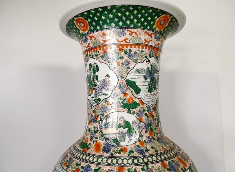 Large Porcelain Baluster Vase China Mandarin Characters 92cm Early Twentieth-photo-2