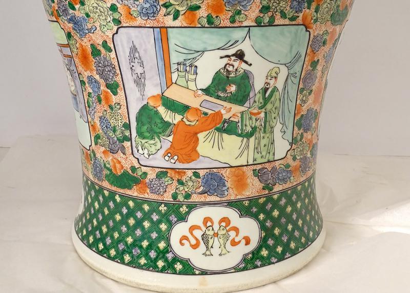 Large Porcelain Baluster Vase China Mandarin Characters 92cm Early Twentieth-photo-4