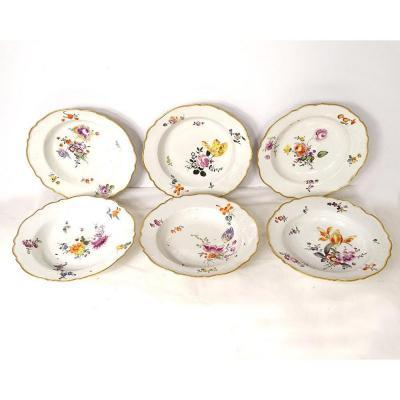 6 Assiettes Creuses Porcelaine Meissen Goût XVIIIème Fleurs Dorure XIXème