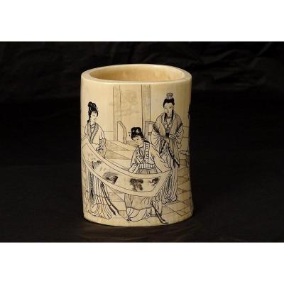 Pot à Pinceaux Bitong Chine Ivoire Femmes Paysage Signé Poème XIXème