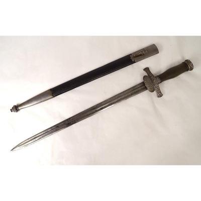 Dague de Chasse Pommeau Corne Métal Argenté Façon Viollet-le-duc XIXème