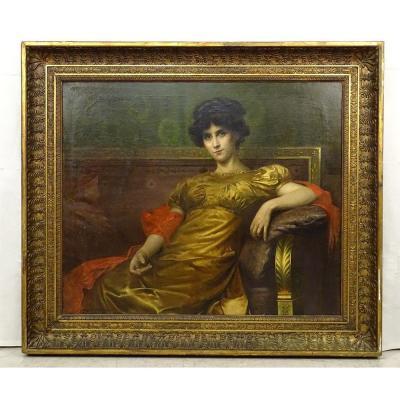 Grande HST Tableau Portrait Femme Empire G. Meyer Cadre Doré 138x121cm XIXè