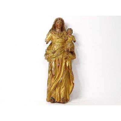 Virgin And Child Jesus Carved Wood Polychrome Golden Statue XVIIIth Century