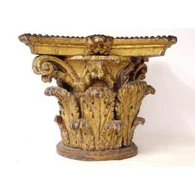 Large Corinthian Capital Louis XIV Carved Wood Acanthus Leaves XVII