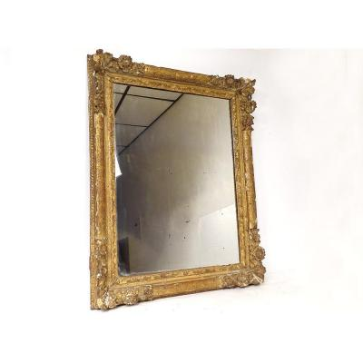 Mirror Louis XIV Régence Carved Wood Gilded Flowers Shell Ice XVIIIth