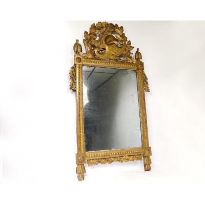 Grand Miroir Révolutionnaire Bois Sculpté Doré Casque Feuilles Chêne XVIIIè