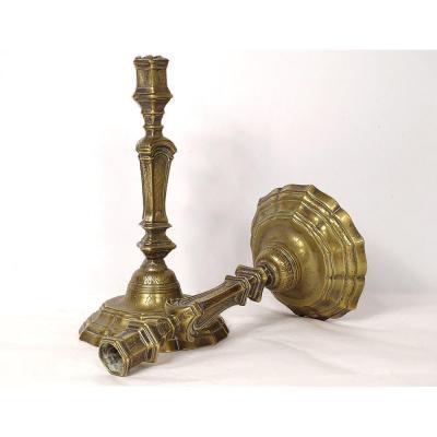 Paire Bougeoirs Flambeaux Régence Bronze Ciselé Fleurs  XVIIIè