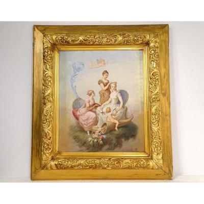 Hst Table Henri-pierre Picou Young Women Allegory Love Cherub Nineteenth