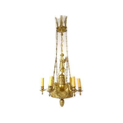 Lustre Empire 6 Feux Bronze Doré Renommée Victoire Ailée Cygnes XIXème