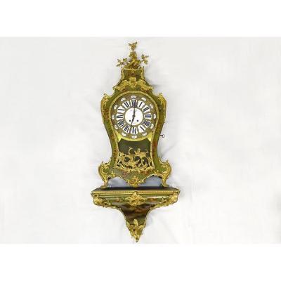 Grand Cartel Décoratif Louis XV Vernis Martin Bronze Doré Oiseaux XIXème