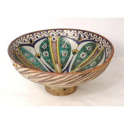 Plat Coupe Mokhfia Céramique Polychrome Tortue Tronja Maroc Fès XIXème