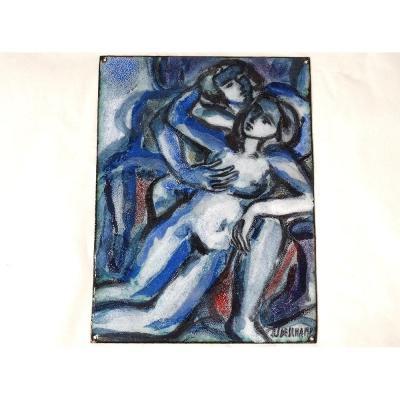 Petite Peinture sur émail Jean Jacques Deschamps Couple Femme Nue XXè