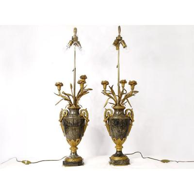 Pair Of Baluster Vases Lamps Marble Gilt Bronze Flowers Napoleon III Nineteenth