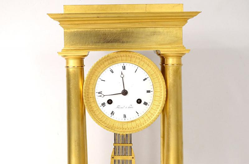 Pendulum Portico Columns Gilt Bronze Flocard Paris Empire Clock XIXth-photo-2