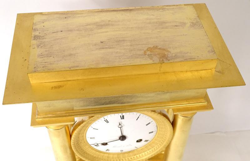 Pendulum Portico Columns Gilt Bronze Flocard Paris Empire Clock XIXth-photo-4