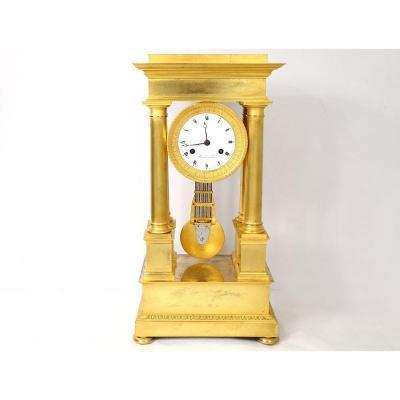 Pendule Portique à Colonnes Bronze Doré Flocard Paris Empire Clock XIXème
