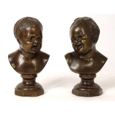 Paire Sculptures Bronze Jean Qui Rit Jean Qui Pleure d'ap. Houdon XIXème
