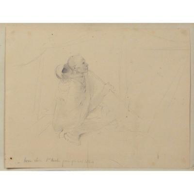 Dessin Th.  Gudin Portrait Orientaliste Homme Arabe Algérie Torre-chica XIXè