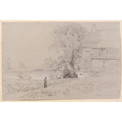 Dessin T. Gudin Paysage Thun Lac de Thoune Château Chalet Personnage XIXème