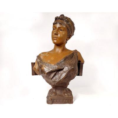 Sculpture Buste Femme Galatée Emmanuel Villanis Blot Art Nouveau XIXème