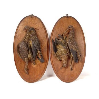 Paire Sculptures Trophées De Chasse Oiseaux Bécasse Perdrix Terre Cuite 19è