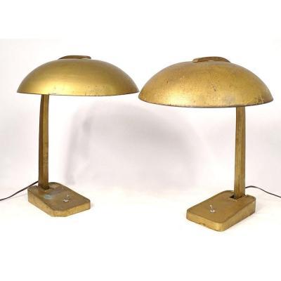 Pair Of Table Lamps Bronze Metal Vintage Art Deco Germany XXth