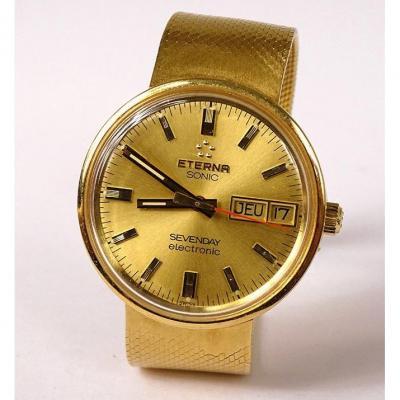 Eterna Sonic Sevenday Electronic Bracelet Watch 18k Solid Gold XXth