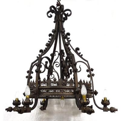 Chandelier Crown Of Lights 7 Lights Wrought Iron Lily Flowers XIXth Century