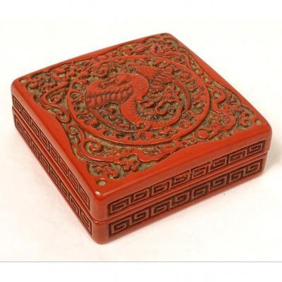 Small Box Cinnabar Lacquer China Bird Phoenix Dragons XIXth Century