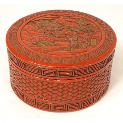 Round Box Cinnabar Lacquer China Character Landscape Pagoda Signed XIXth