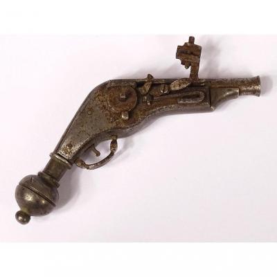 Rare Petit Pistolet à Rouet Miniature Fer Forgé Nuremberg Allemagne XVIème