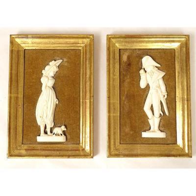 Pair Miniatures Bas-relief Ivory Carved Dieppe Incredible Marvelous Twentieth