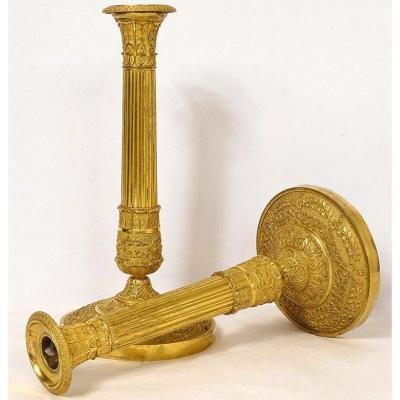 Paire Bougeoirs Empire Bronze Doré Palmettes Feuillage Flambeaux XIXème