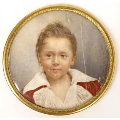 Miniature Ronde Portrait Jeune Enfant Garçonnet Signée Cadre Laiton XIXème