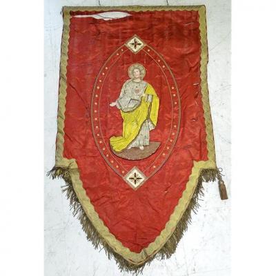 Bannière de Procession Christ Vierge Marie Broderie Fils Or Argent XIXème
