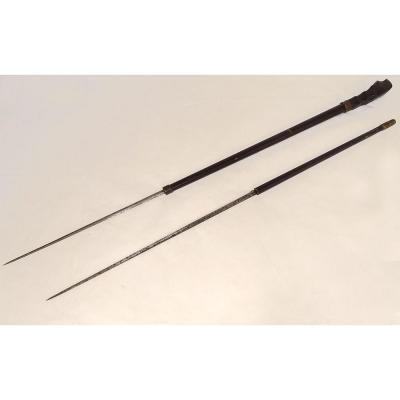 Canne épée à Système Double Lame Pommeau Bois Sculpté XIXème Siècle