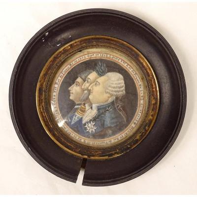 Miniature Peinte Portraits Rois France Louis XVI Henri IV Louis XII XVIIIè