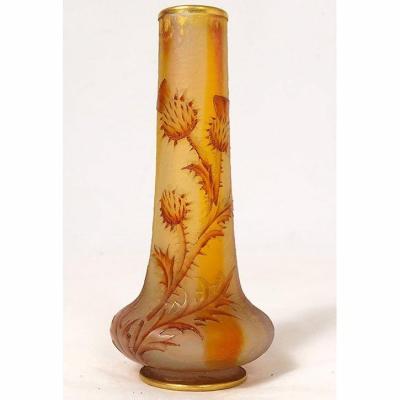 Petit Vase Soliflore Pâte Verre Daum Nancy Fleurs Chardons Art Nouveau XIXè