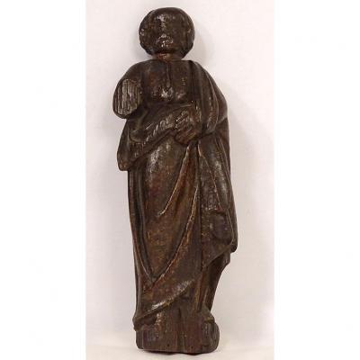 Petite Sculpture Statuette Bois Sculpté Personnage Saint Pierre XVIIème