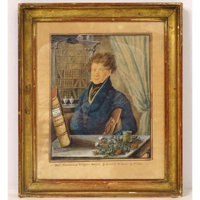 Aquarelle Portrait Herboriste G. du Perier de Larsan 1820 XIXème Siècle