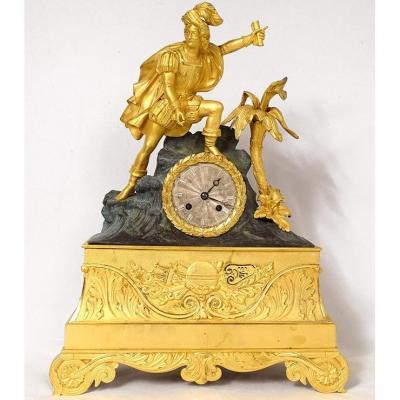 Pendule Restauration Bronze Doré Christophe Colomb Amérique XIXème Siècle