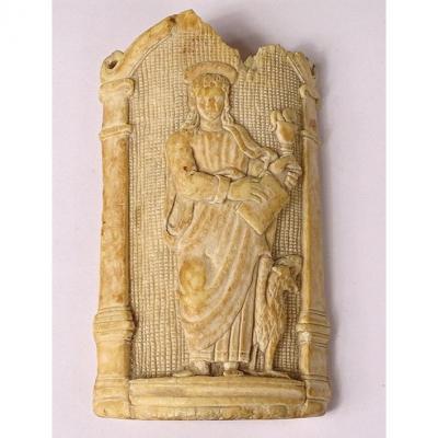 Plaque Bas-relief Ivoire Sculpté Apôtre Saint-Jean évangéliste Aigle XVIème